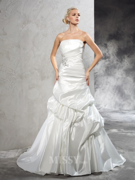 Sheath/Column Strapless Court Train Satin Wedding Dress With Ruched Pleats