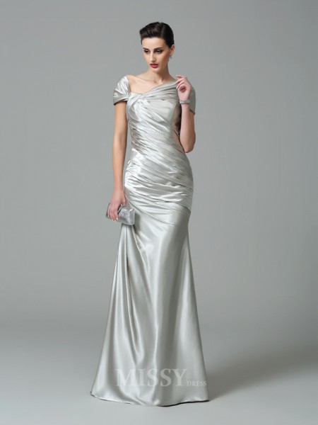 Sheath/Column Off-the-Shoulder Short Sleeves Floor-Length Silk like Satin Dress With Sequin Pleats