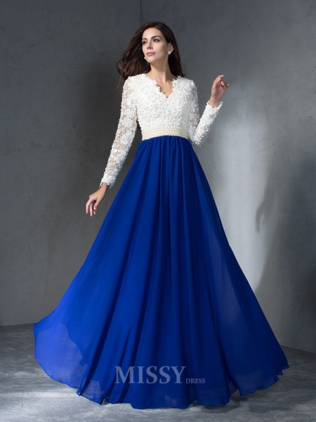 A-Line/Princess V-neck Long Sleeves Floor-Length Chiffon Dress With Embroidery