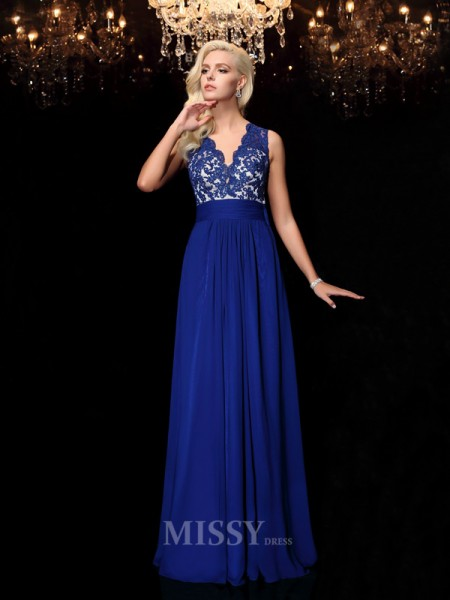 A-line/Princess Floor-Length V-neck Lace Chiffon Dress With Sequin