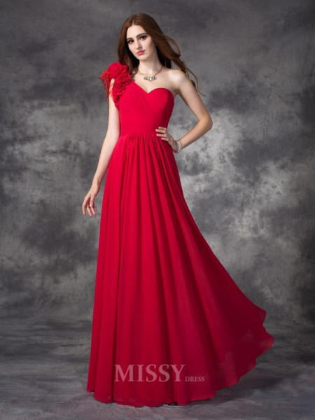 A-line/Princess One-Shoulder Floor-Length Chiffon Dress With Sash Hand-Made Flower