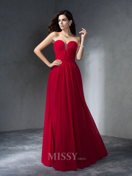 A-Line/Princess Sweetheart Chiffon Floor-Length Dress With Ruffles