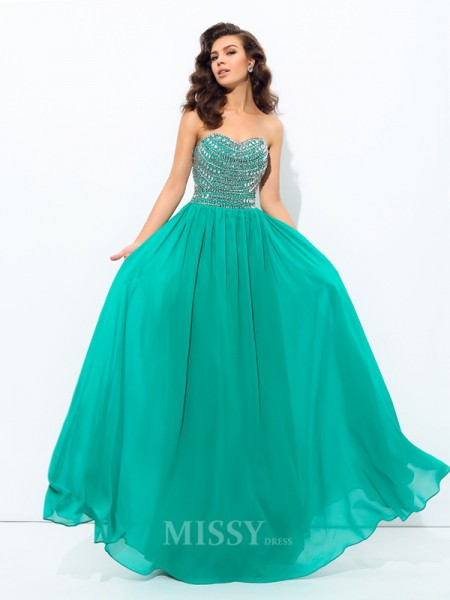 A-Line/Princess Sweetheart Floor-Length Chiffon Dress With Rhinestone Beading