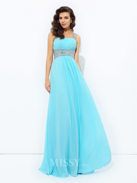 A-Line/Princess Straps Floor-Length Chiffon Dress With Ruched Sequin