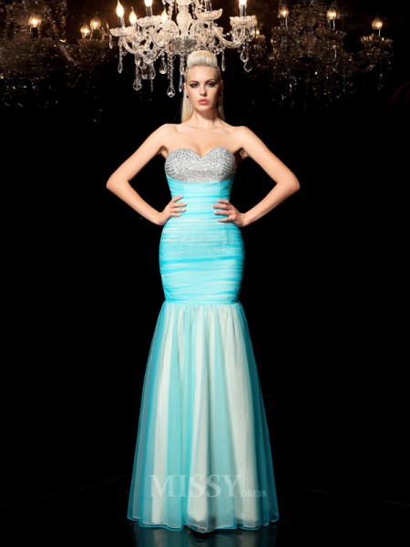 Sheath/Column Sweetheart Sequin Floor-Length Net Dress With Embroidery