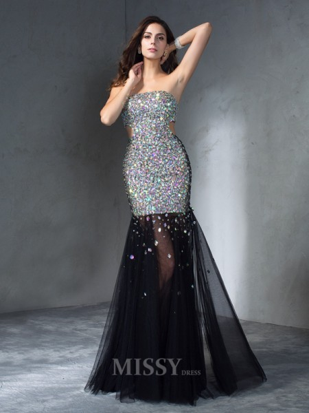 Sheath/Column Strapless Sequin Floor-Length Satin Dress With Rhinestone
