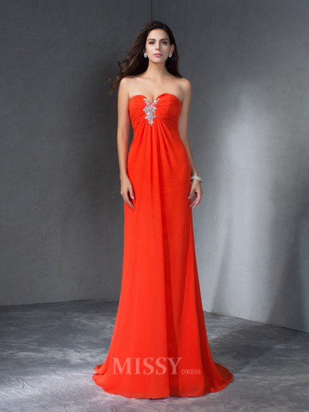 A-Line/Princess Sweetheart  Sweep/Brush Train Chiffon Dress With Ruched Beading
