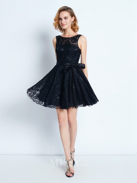 A-Line/Princess Scoop Sleeveless Sash/Ribbon/Belt Short/Mini Dress With Lace