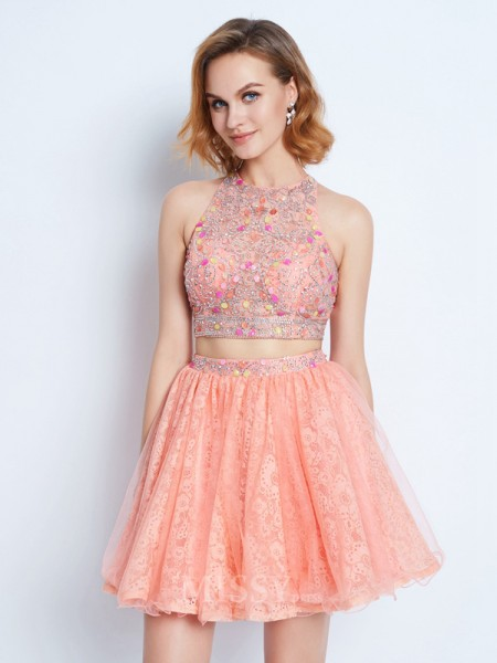 A-Line/Princess Jewel Sleeveless Beading Short/Mini Two Piece Dress With Lace