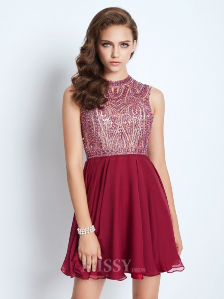A-Line/Princess Jewel Sleeveless Chiffon Short/Mini Dress With Beading