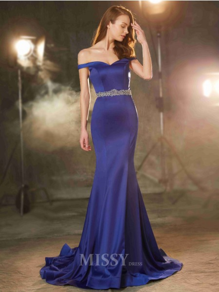 Trumpet/Mermaid Sweep/Brush Train Satin Off-the-Shoulder Crystal Sleeveless Dress