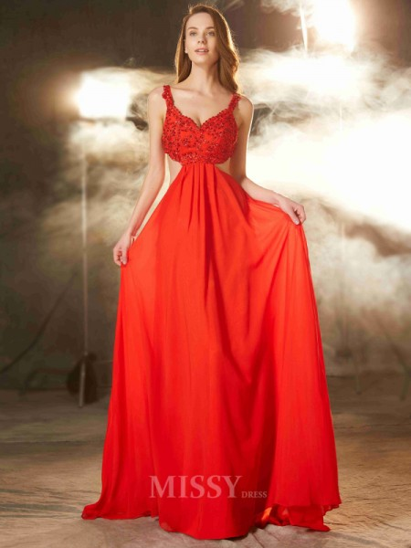 A-Line/Princess Straps Sleeveless Sweep/Brush Train Chiffon Dress With Applique