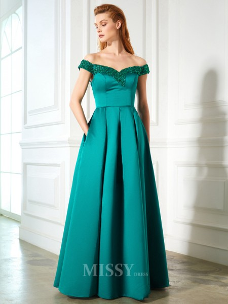 A-Line/Princess Off-the-Shoulder Sleeveless Satin Floor-Length Dress With Sequin