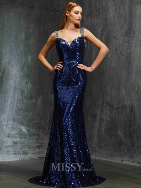 Sheath/Column Sweep/Brush Train Sequins V-neck Beading Sleeveless Dress