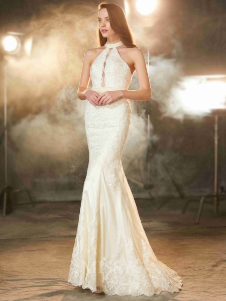 Sheath/Column Jewel Sleeveless Floor-Length Applique Dress With Lace