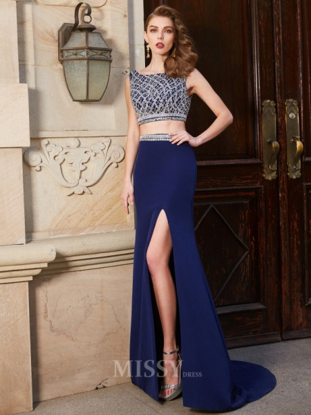 Sheath/Column Sweep/Brush Train Elastic Woven Satin Bateau Beading Sleeveless Dress