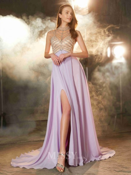 A-Line/Princess Sweep/Brush Train Chiffon High Neck Crystal Sleeveless Dress