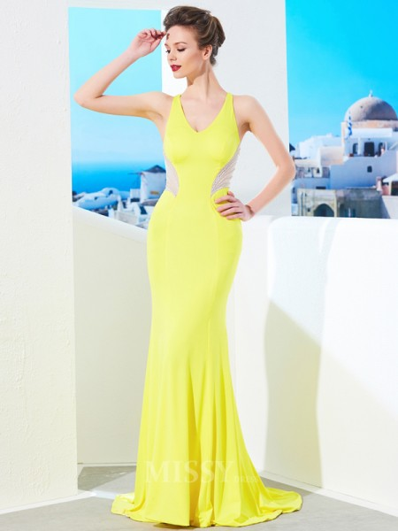 Trumpet/Mermaid Sweep/Brush Train Spandex V-neck Beading Sleeveless Dress