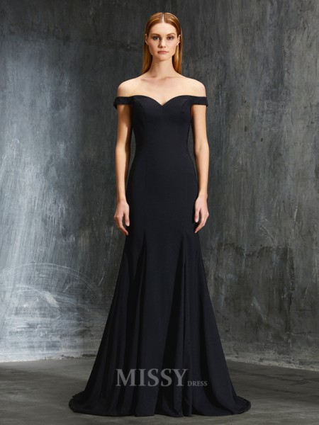 Trumpet/Mermaid Off-the-Shoulder Sleeveless Sweep/Brush Train Japanese Satin Dress With Ruffles