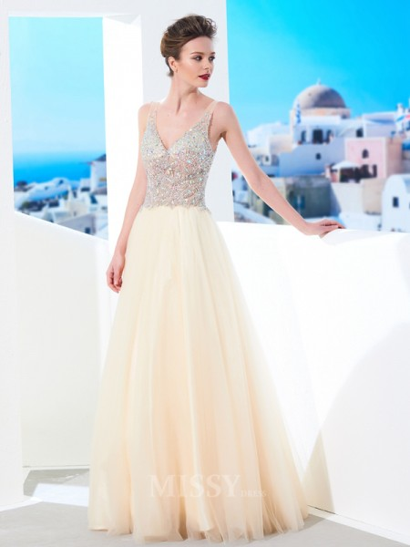 Ball Gown Floor-Length Tulle V-neck Beading Sleeveless Dress