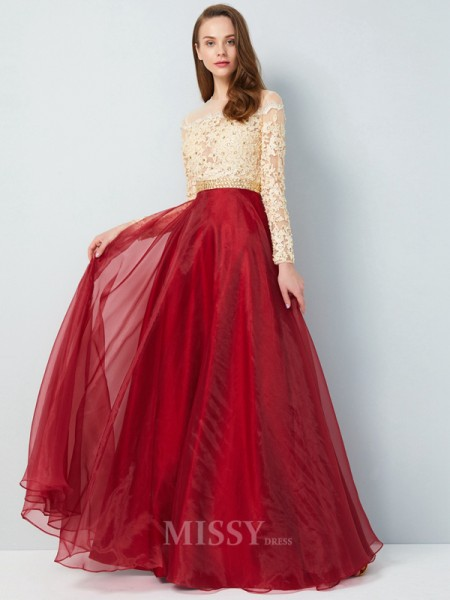 A-Line/Princess Sheer Neck Floor-Length Long Sleeves Organza Dress With Applique