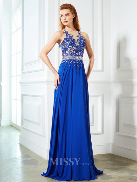 A-Line/Princess Sleeveless Sheer Neck Chiffon Sweep/Brush Train Dress With Applique
