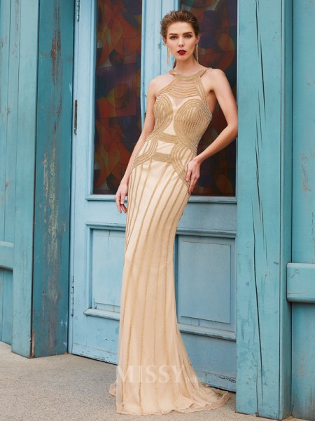 Sheath/Column High Neck Sleeveless Sweep/Brush Train Net Dress With Beading