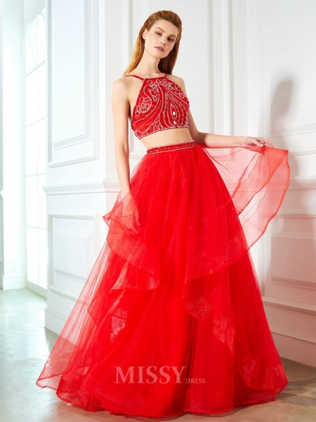A-Line/Princess Spaghetti Straps Sleeveless Floor-Length Tulle Two Piece Dress With Beading