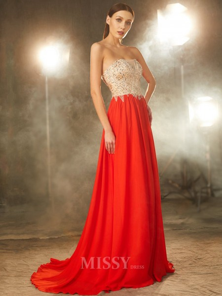 A-Line/Princess Strapless Sleeveless Chiffon Sweep/Brush Train Dress With Beading