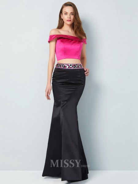 Trumpet/Mermaid Off-the-Shoulder Sleeveless Floor-Length Satin Two Piece Dress With Beading