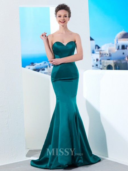 Trumpet/Mermaid Sweetheart Sleeveless Ruched Sweep/Brush Train Satin Dress