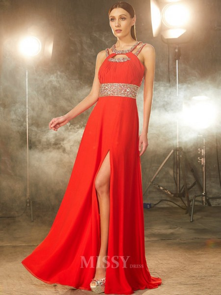 A-line/Princess Scoop Sleeveless Floor-length Chiffon Dress With Beading
