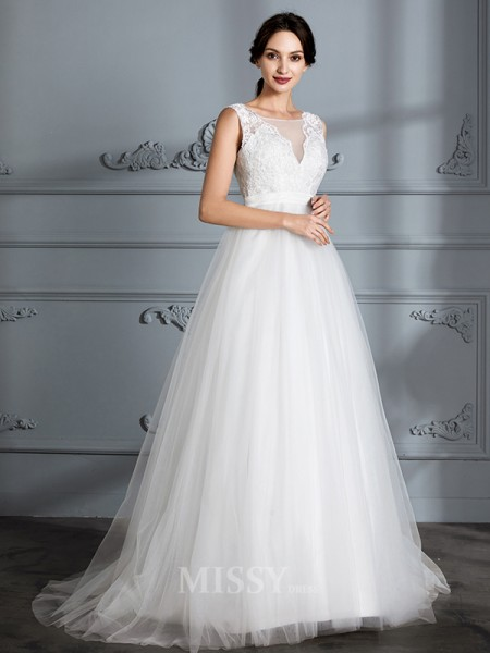A-Line/Princess V-neck Tulle Sleeveless Sweep/Brush Train Wedding Dress