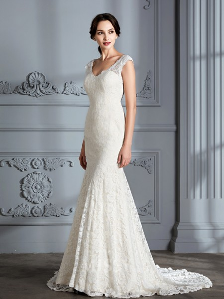 Trumpet/Mermaid V-neck Lace Sleeveless Sweep/Brush Train Wedding Dress