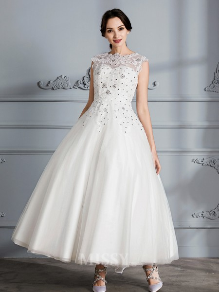 Ball Gown Scoop Tulle Sleeveless Tea-Length Wedding Dress