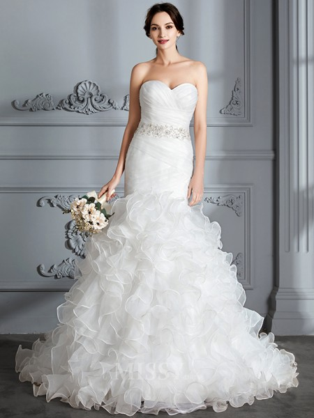 Trumpet/Mermaid Sweetheart Satin Sleeveless Ruffle Sweep/Brush Train Wedding Dress
