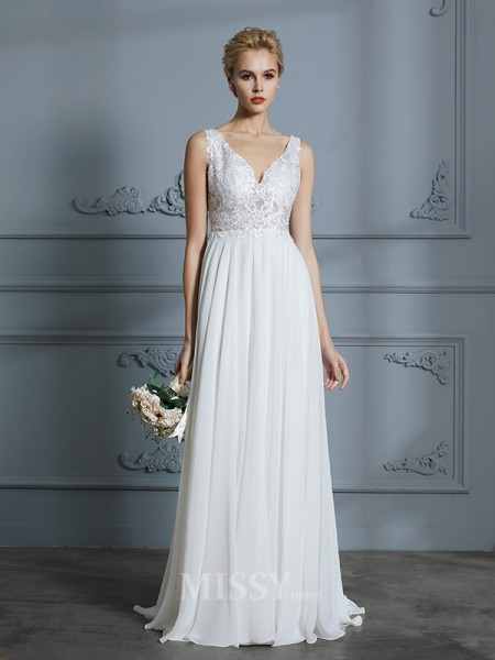 A-Line/Princess V-neck Sleeveless Sweep/Brush Train Chiffon Wedding Dresses
