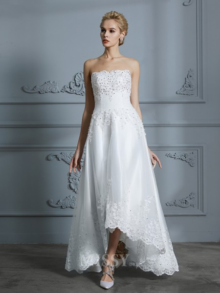 A-Line/Princess Sleeveless Sweetheart Beading Asymmetrical Tulle Wedding Dresses