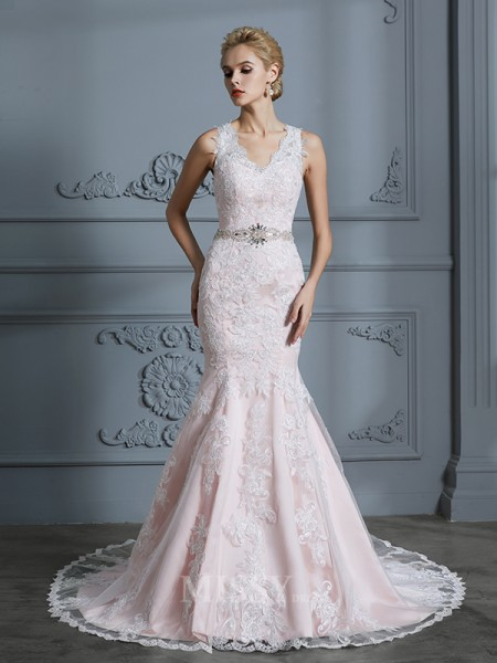 Trumpet/Mermaid Sleeveless Applique Tulle V-neck Court Train Wedding Dresses