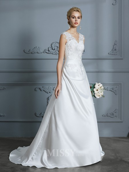 A-Line/Princess Sweep/Brush Train V-neck Sleeveless Applique Satin Wedding Dresses