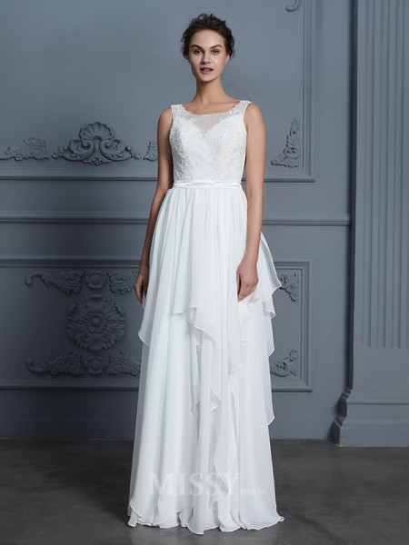 A-Line/Princess Scoop Chiffon Sleeveless Ruffles Floor-Length Wedding Dress