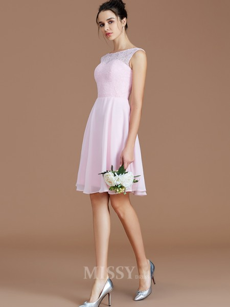 A-Line/Princess Chiffon Sleeveless Bateau Lace Short/Mini Bridesmaid Dress