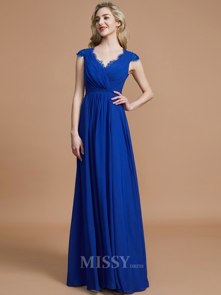 A-Line/Princess Chiffon Sleeveless V-neck Ruched Floor-Length Bridesmaid Dress