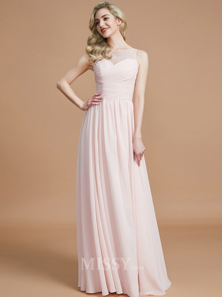 A-Line/Princess Chiffon Sleeveless Bateau Ruched Floor-Length Bridesmaid Dress