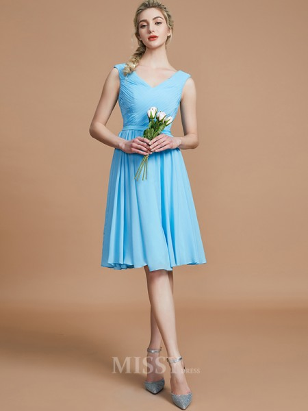 A-Line/Princess Chiffon Sleeveless V-neck Ruched Short/Mini Bridesmaid Dress