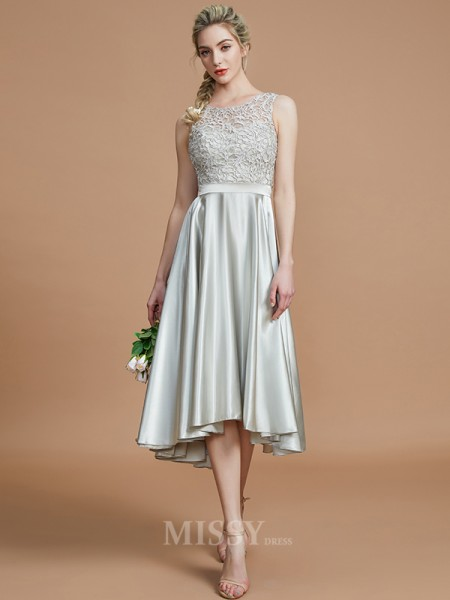 A-Line/Princess Silk like Satin Sleeveless Bateau Ruffles Asymmetrical Bridesmaid Dress