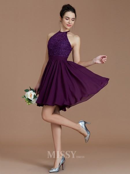 A-Line/Princess Chiffon Sleeveless Halter Lace Short/Mini Bridesmaid Dress