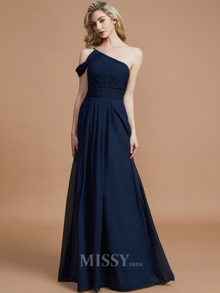 A-Line/Princess Chiffon Sleeveless One-Shoulder Floor-Length Bridesmaid Dress