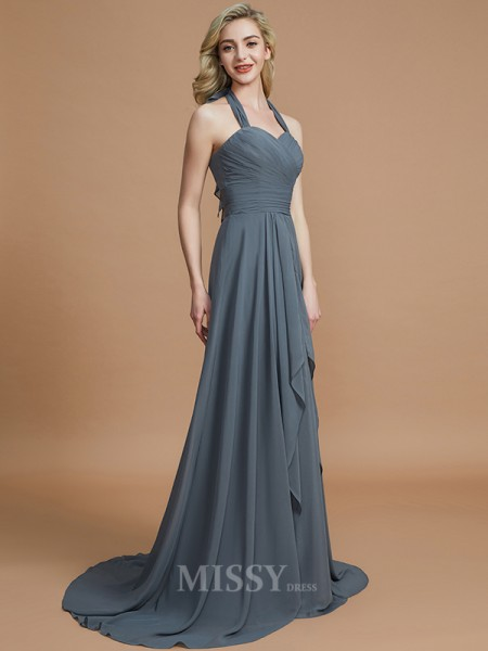 A-Line/Princess Chiffon Sleeveless Halter Sweep/Brush Train Bridesmaid Dress