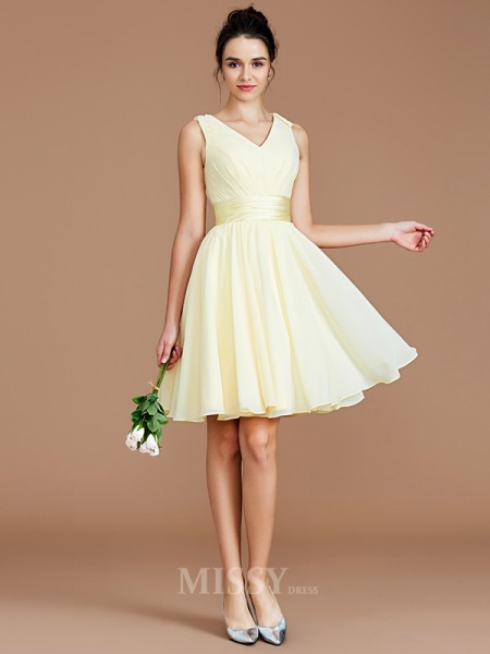 A-Line/Princess Chiffon Sleeveless V-neck Sash/Ribbon/Belt Short/Mini Bridesmaid Dress